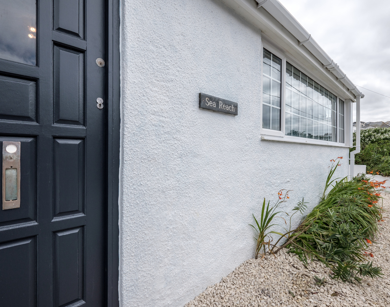 The entrance and front door to Sea Reach, a self catering, holiday home in Polzeath, Cornwall.