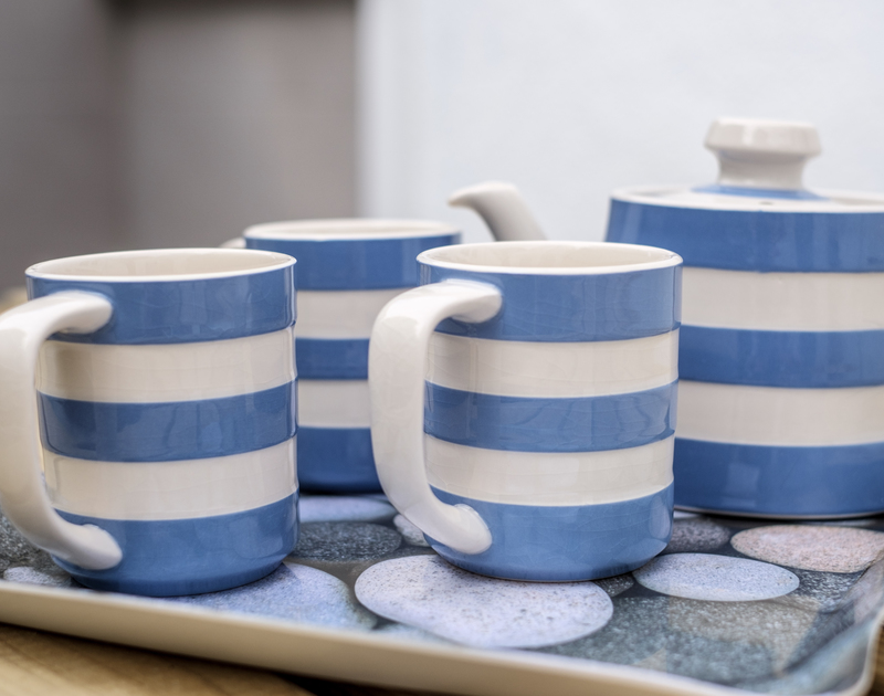 Cornish blue tea set at self catering, holiday home Sea Reach to rent in Polzeath, North Cornwall.