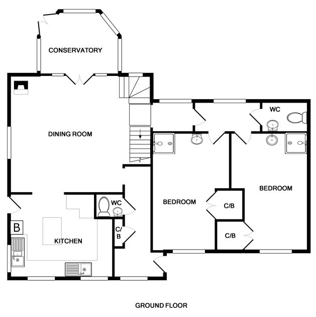 The ground floor plan for Fairholme, a self catering holiday house to rent in Port Isaac in North Cornwall.