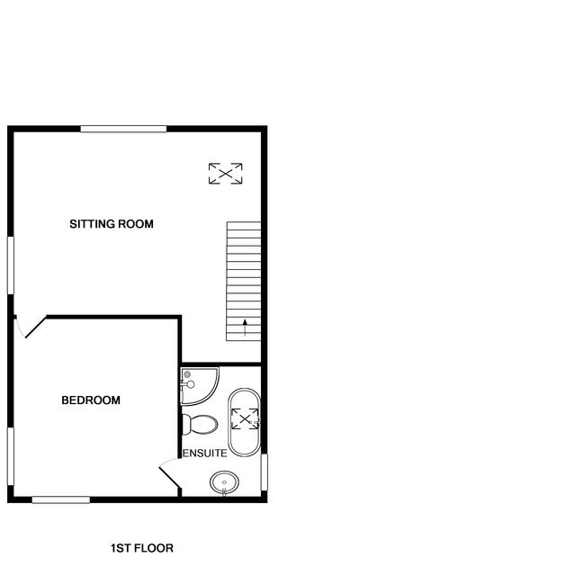 The first floor plan for self catering holiday house Fairholme in Port Isaac in North Cornwall.