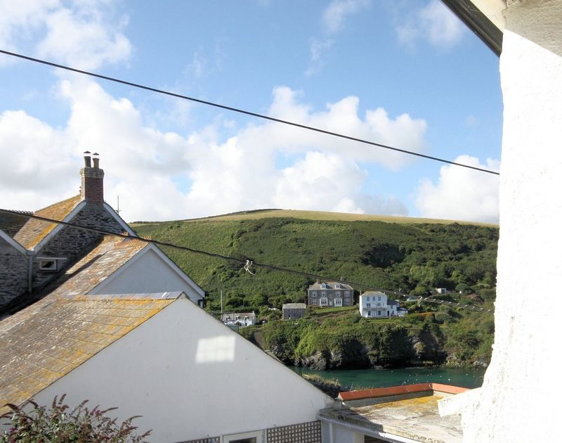 The view from the master bedroom at Beehive Cottage across the harbour towards Lobber Point and the fictional Doc Martin's surgery, where the popular TV series will be filming again in picturesque Port Issac.