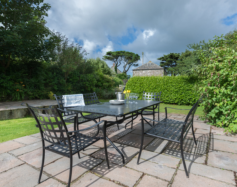 The mature, enclosed gardens at An Skyber Barn, a self catering, holiday house to rent in North Cornwall.