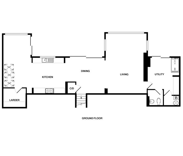 The ground floor plans for The White House, a premium front row holiday property above the popular surfing beach of Polzeath.