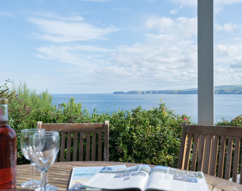 From the south facing patio, the sea and coastline views are spectacular and change daily, all from the comfort of self catering holiday house Signal Post in Port Issac.