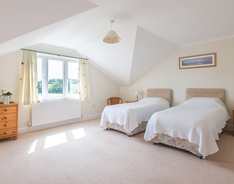 Good sized double room with rural views at self catering, holiday rental, Willowbrook in Rock, Cornwall.