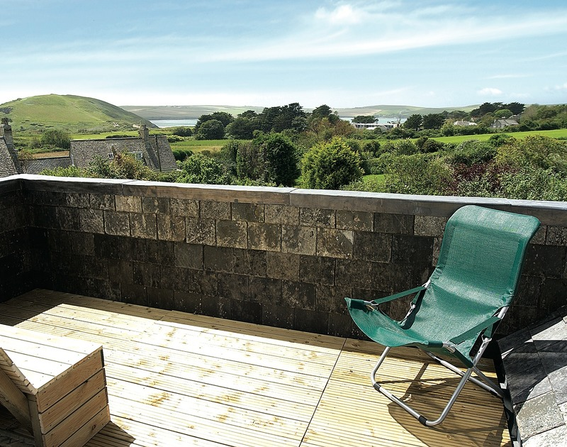 Beautiful estuary views from the first floor balcony of Thyme Bank, a holiday house at Daymer Bay, Cornwall