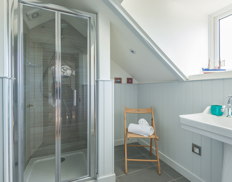 The second floor shower room at Westray House, a self catering holiday house to rent in Polzeath, Cornwall.