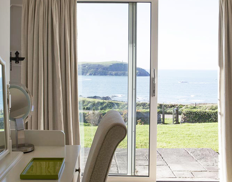 Enjoy wonderful sea views from your bed and a private terrace attached to the master bedroom at Spindrift