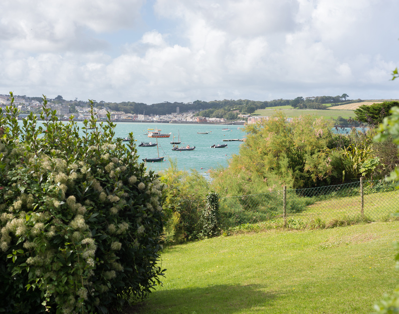 Pretty lawned garden, a stones throw from the waters of the Camel Estuary at 4, The Terrace, Rock, Cornwall.