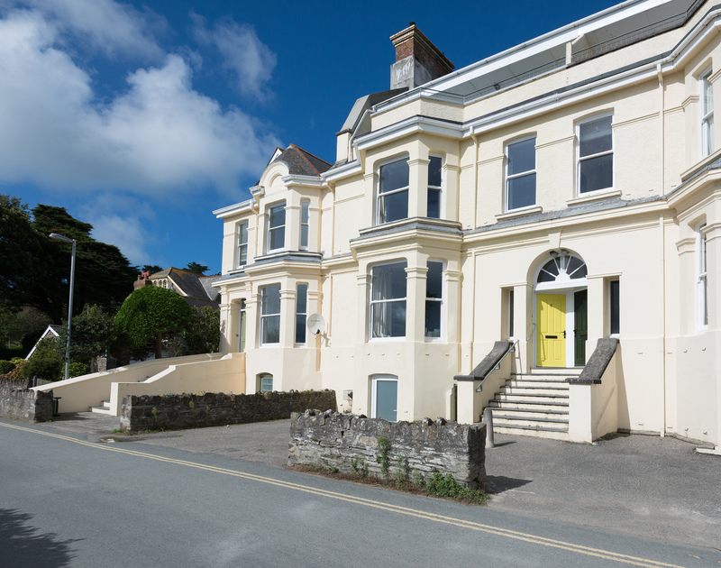 The attractive, Victorian exterior of self catering holiday property, 4, The Terrace located towards the very end of Rock road in north Cornwall.