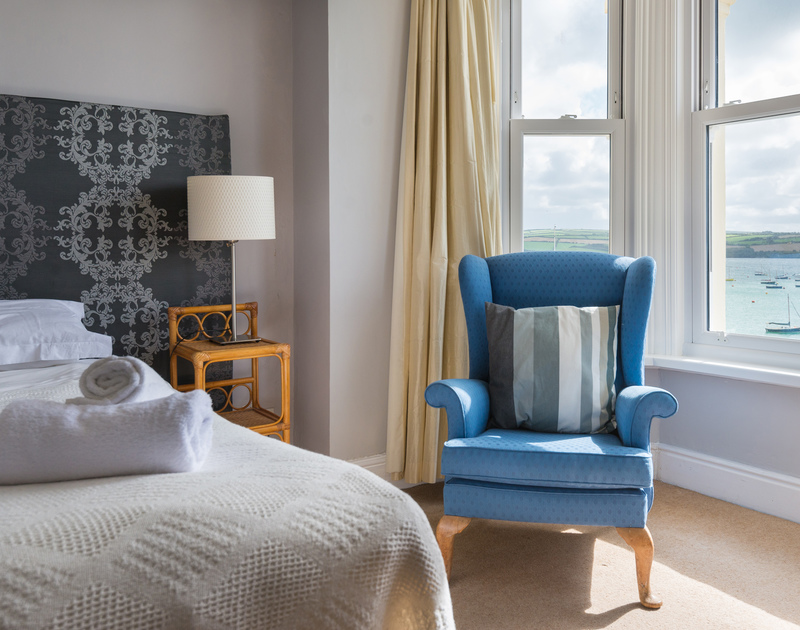 Imaginative furnishings adorn one of the double bedrooms at 4, The Terrace, a coastal, self catering holiday house in Rock.