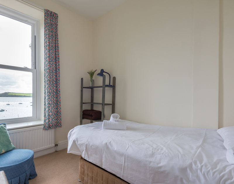A single bedroom at 4, The Terrace with far reaching views over the boat moorings towards Padstow on the Camel Estuary.