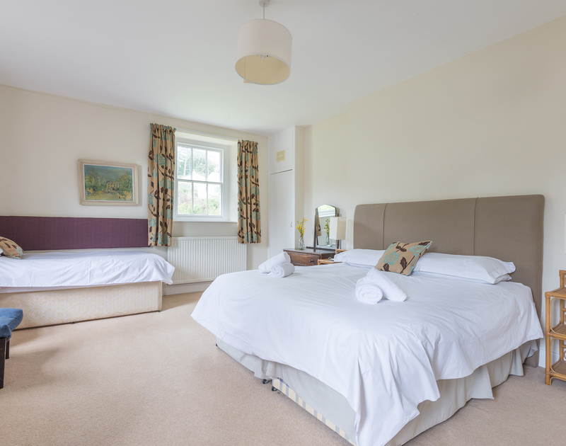 The spacious triple bedroom, ideal for a small family at 4, The Terrace, a large self catering holiday house in Rock, north Cornwall.