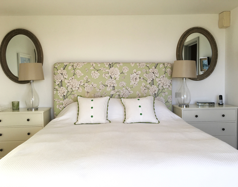 The charming master bedroom at Spindrift near Daymer Bay in north Cornwall, has a super king size bed and ensuite bathroom