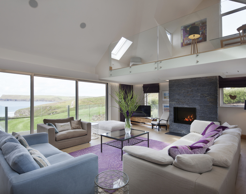 The panoramic sea views from the sitting room at Greenaway Reach, a luxury self catering holiday home to rent near Daymer Bay, on the North Cornwall coast