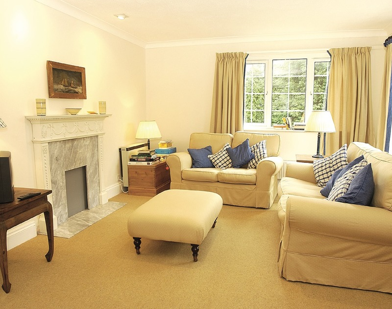 The comfortable open-plan lounge at Lanhay, a self-catering holiday house in Rock, Cornwall