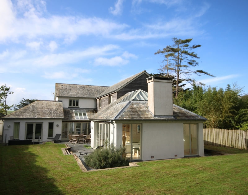 The stunning exterior of Church Lane House taken from the garden in Daymer Lane, North Cornwall.