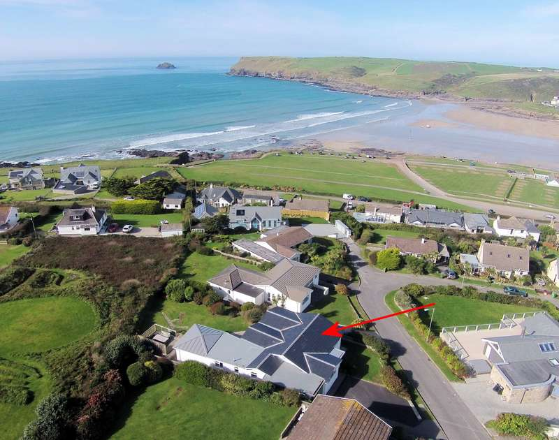 The fabulous location on the Tristram side of Polzeath taken by a drone of Sea Mist, a self catering holiday rental on the North Cornish Coast.