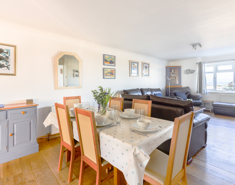 Bright and light open plan living at holiday rental  Silvershell House with sea views from all the front rooms.