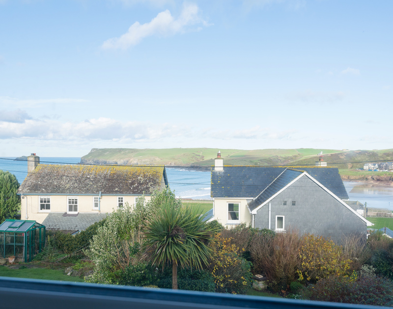 From the comfort of self catering, holiday rental Trelorna, views can be seen of magnificent Pentire Point and the wild Atlantic Ocean rolling onto the beach at Polzeath in North Cornwall.