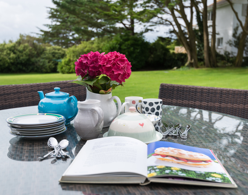 Afternoon tea in the garden at self catering, holiday house Trewidden, close to Daymer Bay.