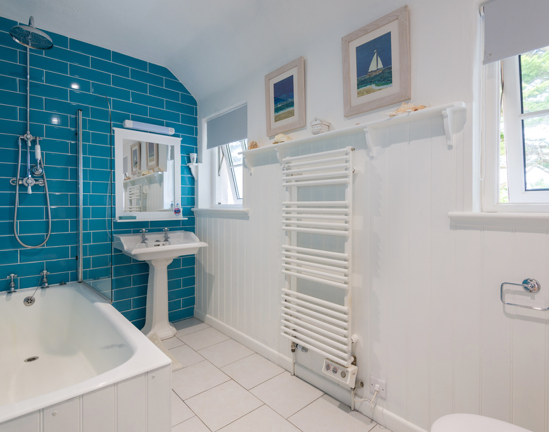 One of six bathrooms at self catering, holiday property, Trewidden.