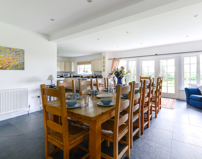 Plenty of room for large family gatherings in the open plan kitchen/dining room at self catering Trewidden.