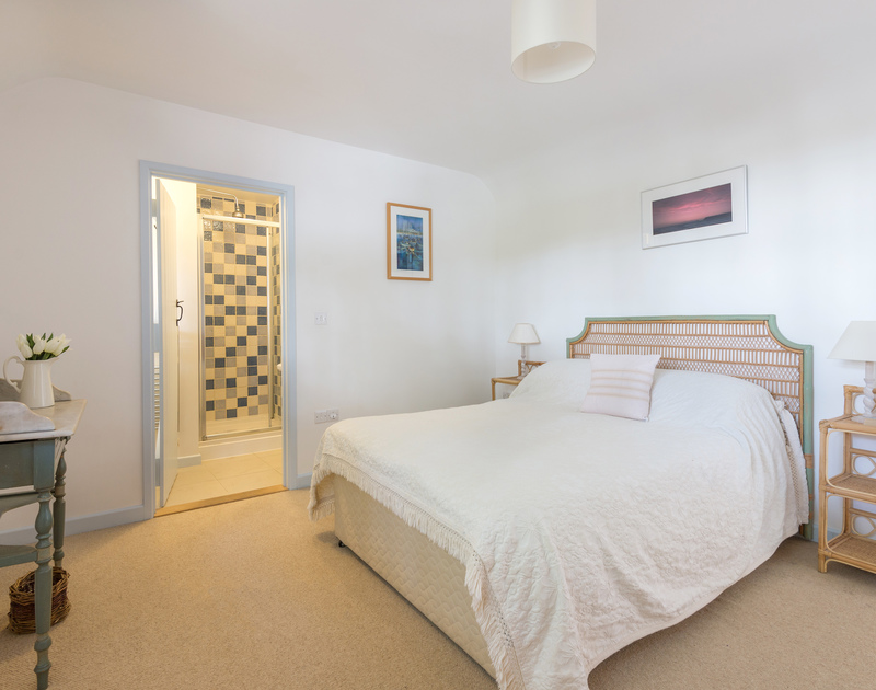 The king sized bedroom with ensuite at Trewidden in north Cornwall.