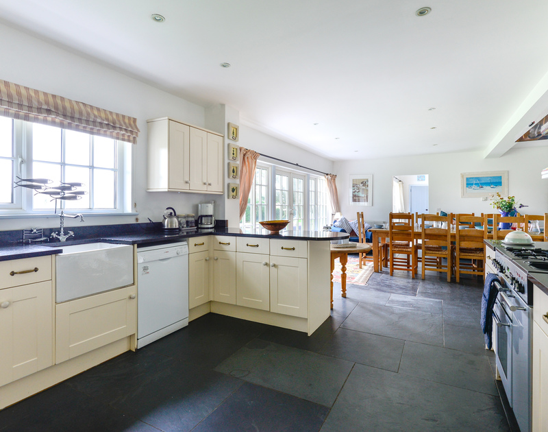 There is a great sized entertaining space in the open plan kitchen/dining room at family holiday house Trewidden in Trebetherick.
