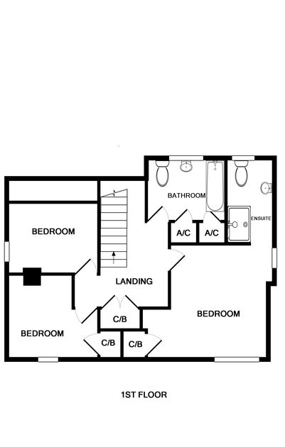 The first floor plan for self catering family holiday house to rent on the beautiful North Coast of Cornwall in Port Isaac.