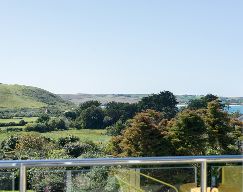 Gorgeous views of Daymer Bay from the king bedroom balcony at Hob House.