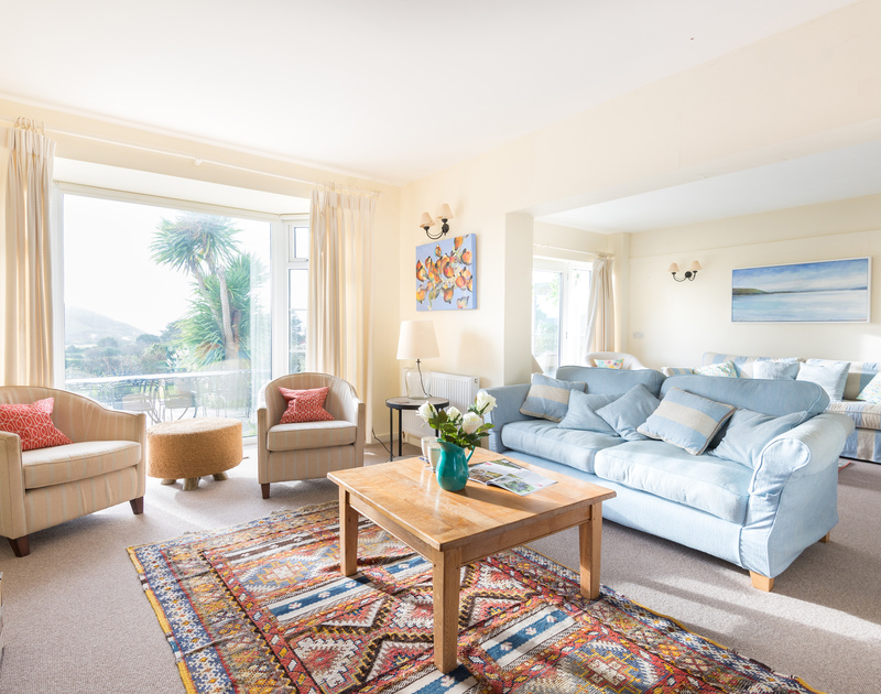 The sumptuous sitting room of Hob House, a self-catering holiday house at Daymer Bay, Cornwall