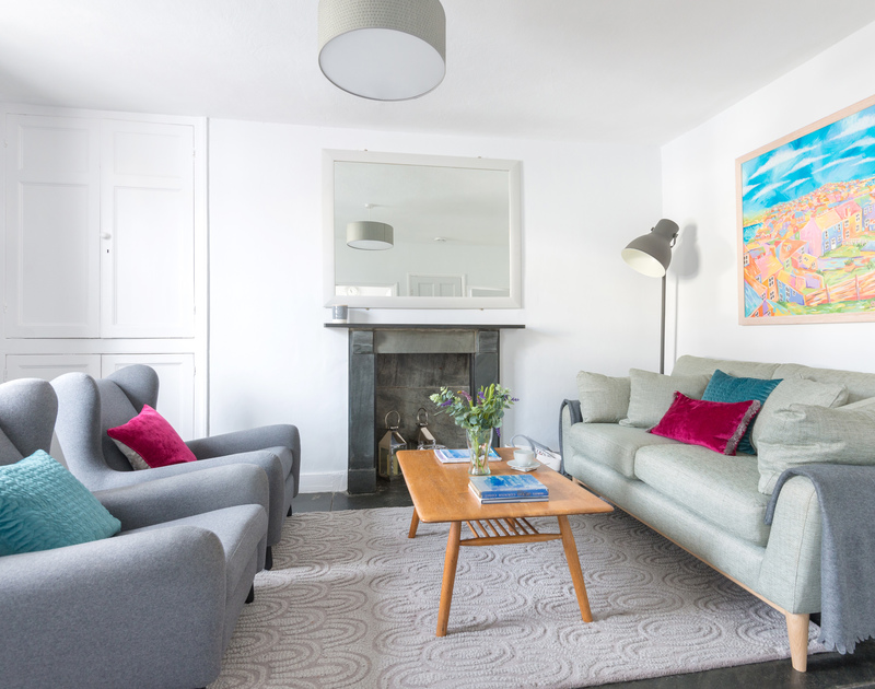 The contemporary sitting room at self catering Malahne, a holiday retreat for up to four guests in the beautiful fishing village of Port Isaac in North Cornwall.