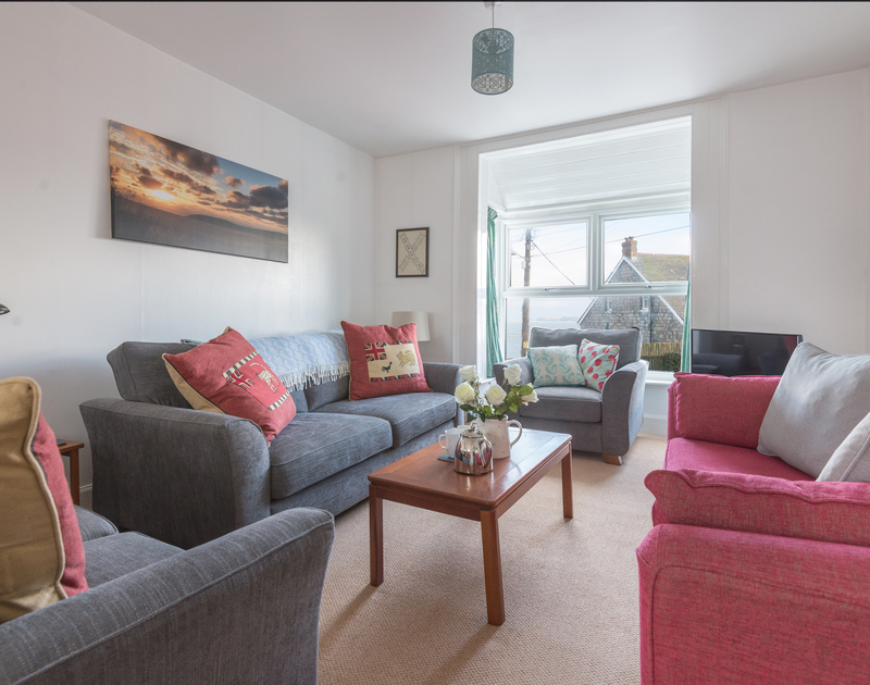 The comfortably furnished sitting room at Tregenna, a self catering holiday house to rent in Port Isaac in North Cornwall.