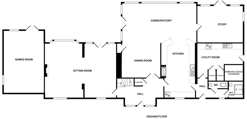 The ground floor plan for spacious and beautifully furnished Hob House, a self catering holiday property within an easy walk of Daymer Bay.