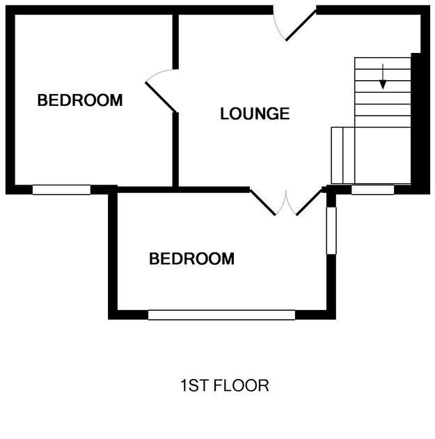 The first floor plan for cosy self catering holiday cottage The Fo'c'sle, in Port Isaac in North Cornwall.