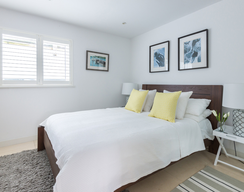 One of the four bedrooms at Number 9, self catering luxurious holiday accommodation on the North Coast of Cornwall in Port Isaac.