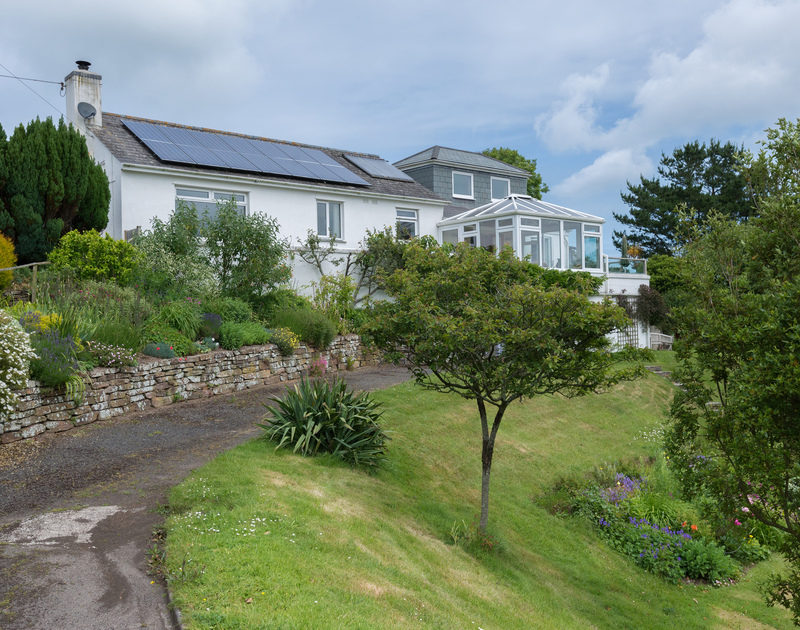 An exterior view of the front of hidden away Sliggon Field a secret spot for family holidays close to the beaches of Daymer Bay and Polzeath.