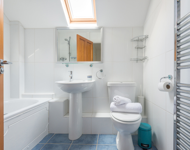 The attractive bathroom of Lundy Cottage, a holiday house in Rock, Cornwall, with velux window and heated towel rail.