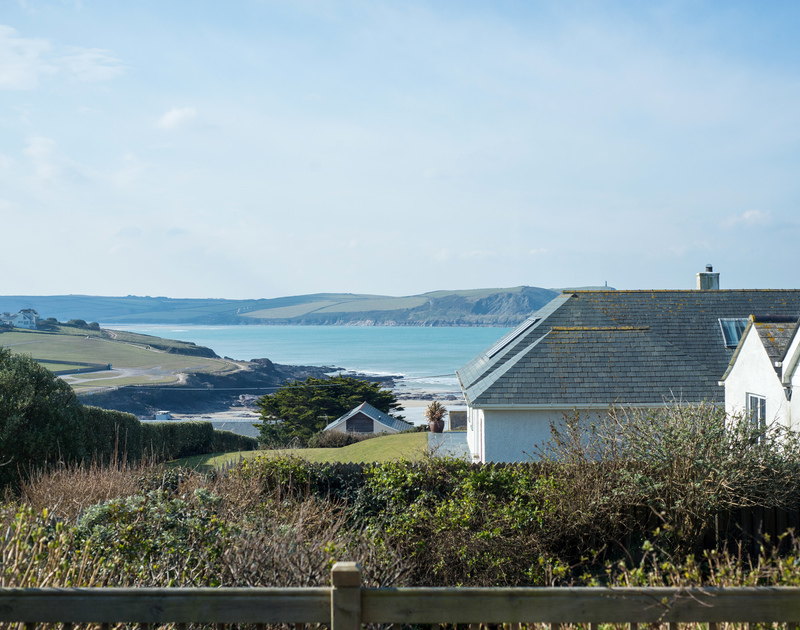 The sea views from the deck at Bella Vista self catering holiday home in Polzeath, North Cornwall.