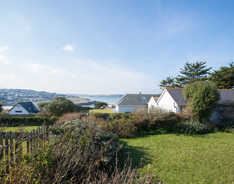 The enclosed garden at Bella Vista self catering holiday home in Polzeath, north Cornwall.