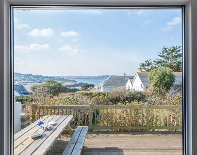 The sea view from the sitting room at Bella Vista self catering holiday home in Polzeath, North Cornwall.