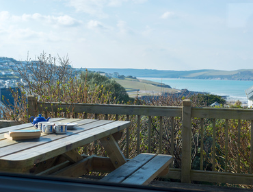 Seaviews from the balcony of Bella Vista, a self-catering holiday home in Polzeath, North Cornwall
