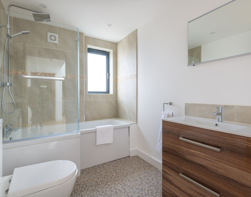 Contemporary family bathroom at First Light a luxury self catering, holiday let in Rock, Cornwall.