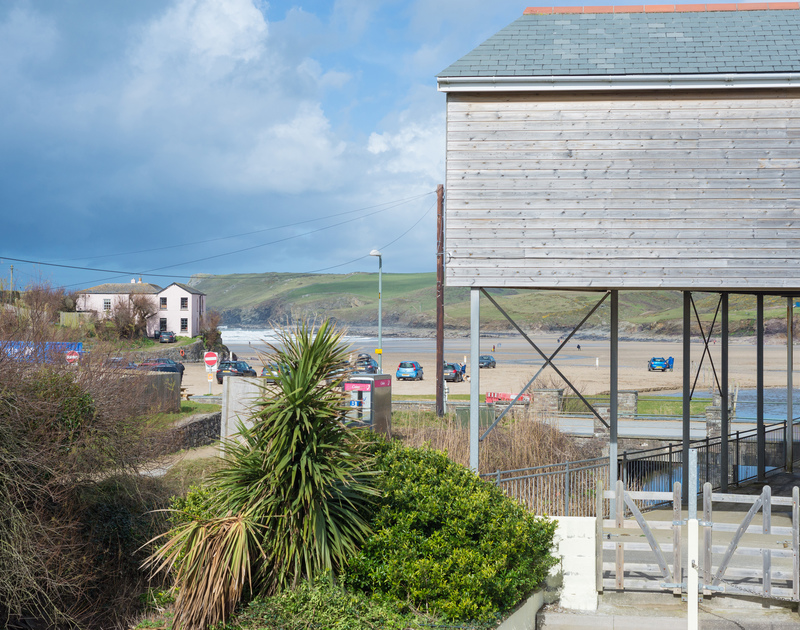 Great view of Polzeath beach and the sea rolling in towards the village from the balcony at holiday rental Beachside.