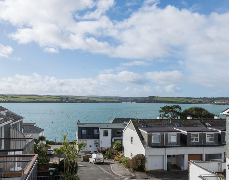 Fabulous views across the Camel Estuary from the balcony at self catering Slipway 19, in Rock, Cornwall.