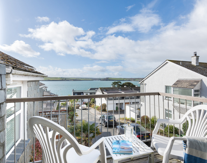 Enjoy a drink with a fabulous view over the Camel Estuary in Rock, from the balcony of self catering holiday house Slipway 19.