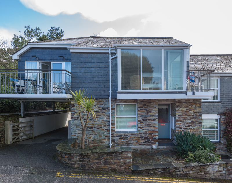 The exterior of self catering holiday house Slipway 19, just a stones throw from the Camel Estuary in Rock, north Cornwall.