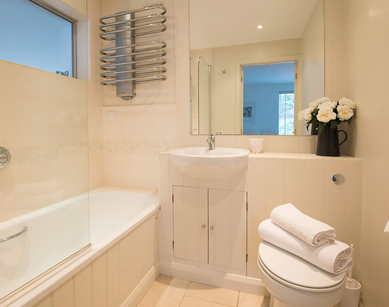 One of the three bathrooms at Slipway 19, a self catering holiday rental on the Camel Estuary in Rock, north Cornwall.