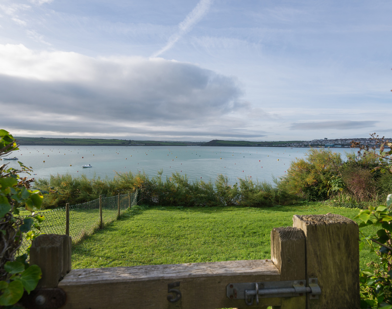 The front garden at self catering, holiday house, 5, The Terrace with unparalleled views across the Camel Estuary.
